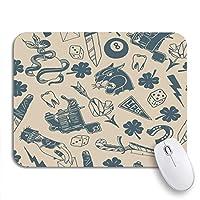 NINEHASA 可愛いマウスパッド 伝統的なタトゥーのデザインサイコロクローバーナイフライトニングボルトパンサーノンスリップゴムバッキングマウスパッドノートブックコンピュータマウスマット
