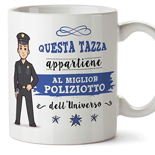 MUGFFINS (Taza en Italiano) Policía Tazas Originales de café y Desayuno para Regalar Trabajadores y Profesionales. Esta Taza Pertenece al Mejor policía del Universo. Cerámica 350 ml