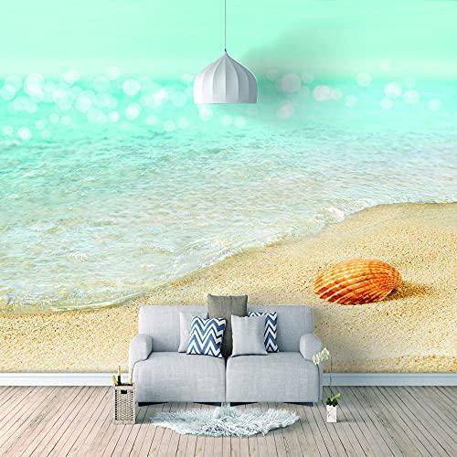 Papel Pintado 3D Foto Murales Playa soleada,Papel Tapiz Fotográfico Premium No-Tejido Mural Apto para Sala de Estar Dormitorio Decoración de la Papel Tapiz 450x300 cm - 9 tiras