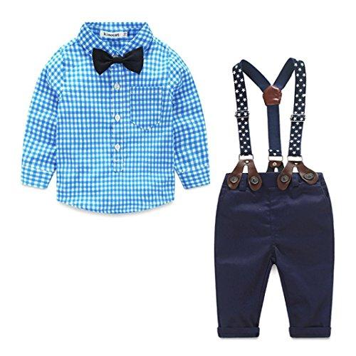 Staron 2pcs Kids Baby Boy Plaid Shirt Outfits Set Infant Grid Tops+Suspender Pants (12-18 Months, Red)