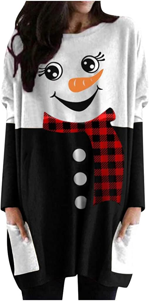 Hotkey Womens Long Sleeve Tops, Round Neck Snowman Print Tunics Shirts Casual Pullover Sweatshirts Blouses with Pockets