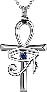 Ankh Cross Eye of Horus Pendant Necklace Women Mens 925 Sterling Silver Horus Eye of Ra Necklace Ankh Cross Necklace Symbo...