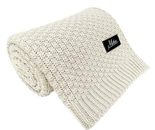 Manta de punto para bebé, ideal como manta para bebés, manta de lana, manta para bebé o manta para bebé 80 x 100 I 100 x 120 (1033) beige beige Talla:80x100