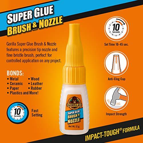 Gorilla Super Glue 2-in-1 Brush & Nozzle Clear 12g