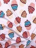 Slantastoffe Jersey Interlock Kinderstoff Cupcake Breite