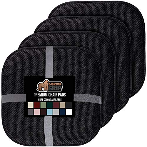 Gorilla Grip Original Premium Memory Foam Chair Cushions, 4 Pack, 16x16 Inch, Thick Comfortable Seat Cushion Pad, Large Size, Slip Resistant, Durable Soft Mat Pads for Office, Kitchen Chairs, Black