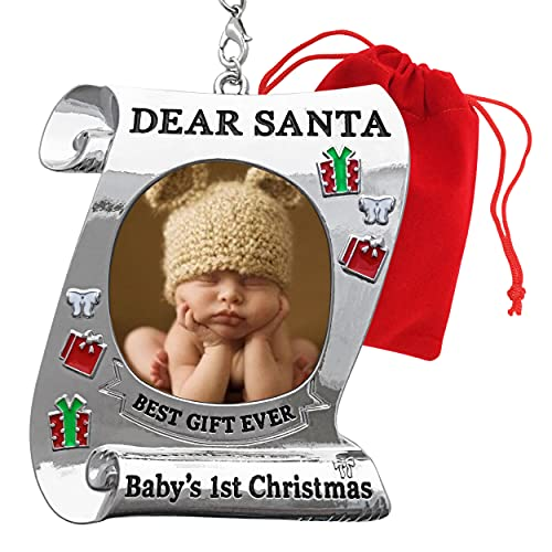 BANBERRY DESIGNS Baby's First Christmas Keepsake Photo Ornament - 2021 Dated Ornament for Newborn - Dear Santa Picture Holder - Baby 1st