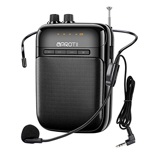 APROTII Amplificador de voz Portátil con Micrófono, 12 Vatios, 2000 mAh, Sistema de PA Recargable, Bluetooth Amplificador de voz para Profesores, Entrenadores, Guía Turística