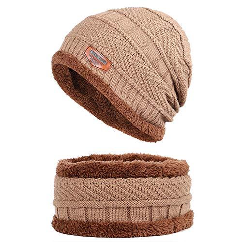 Bonnet Unisexe Chapeau tricoté Homme Beanie Hats, Bonnet écharpe Bonnets Chauds en Tricot Chauds Balaclava Chapeau d'hiver pour Hommes Femmes Bonnet Bonnet Skullies @ Khaki
