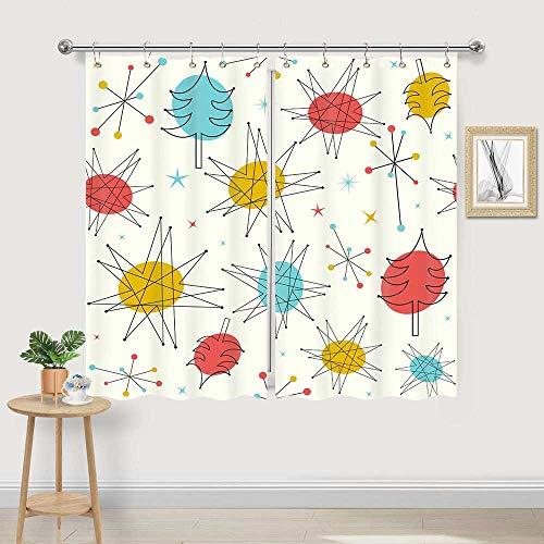 Mid Century Modern Kitchen Window Curtains, Mid Atomic Starbursts Sputnik 1950s Curtains Panels, bsctract Geometric Kitchen Window Drapes, Mid Century Window Treatment Sets with Hooks, 55X39 in
