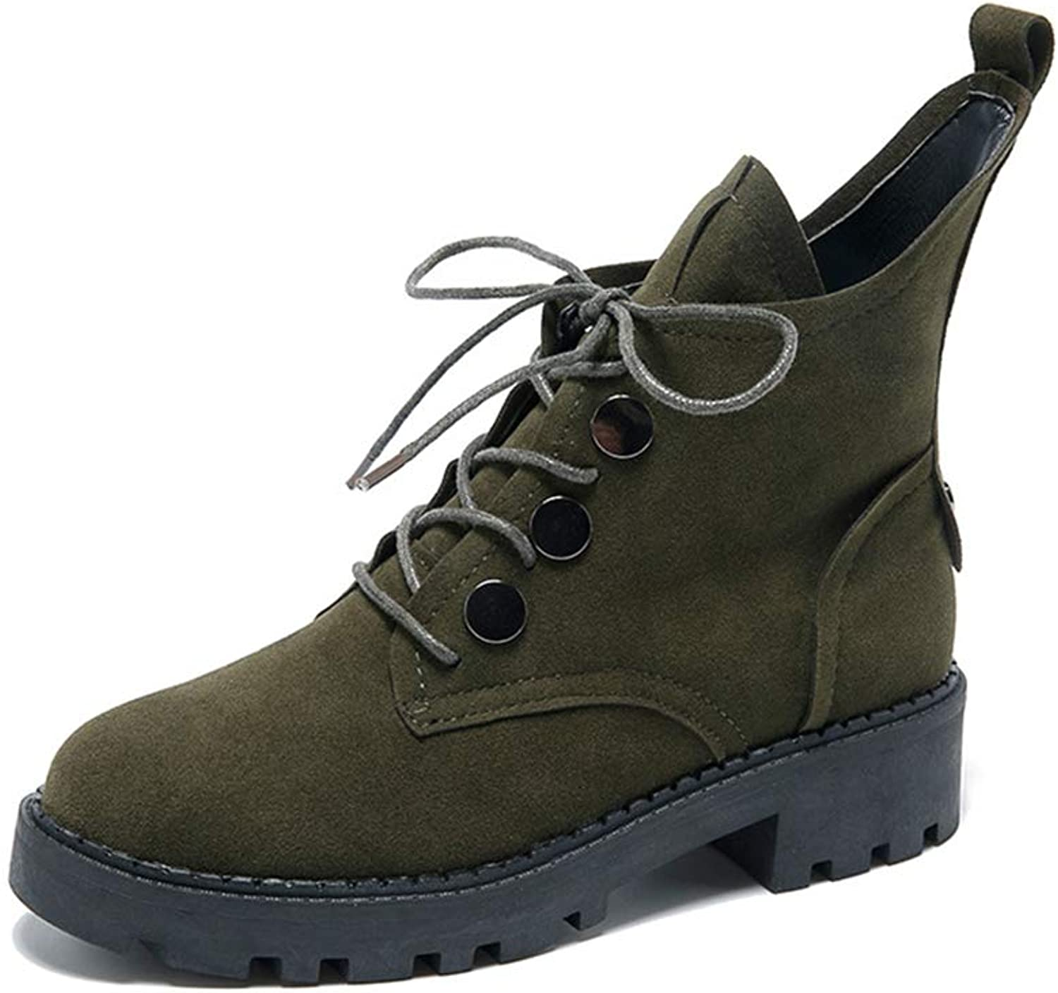 A-LING Women's Faux Suede Retro Motorcycle Boots Work Boots
