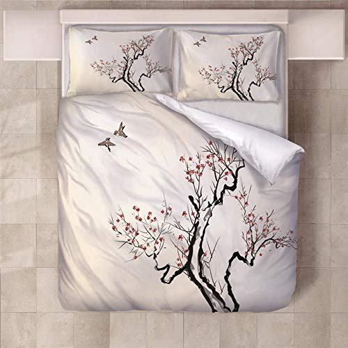 PERFECTPOT King Size Duvet Cover Set Flowers Birds Soft Bedding Quilt Set with 2 Pillowcases in Polyester with Zipper Closure for Children Boys Girls Adults, 230x220cm