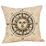 Sallydream- Fundas Cojin 45x45 Sofa Vintage Brújula Simple Lino Moda Funda de Almohada Decoración del Hogar Oficina Coche Lugar de Ocio (H)