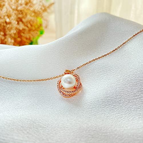 QiuYueShangMao Anillo de Moda diseño de nicho Sentido Collar de Perlas Cadena de clavícula Femenina Colgante joyería Regalos Collar Regalo de cumpleaños