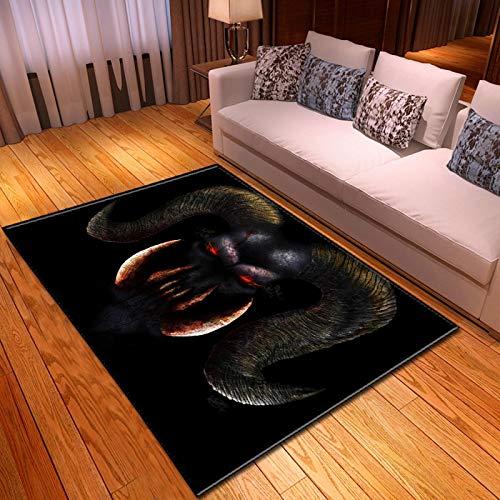 LGXINGLIyidian Casa Alfombra Serie De Calaveras De Muerte De Terror Creativo Alfombra Suave Antideslizante De Decoración del Hogar De Impresión 3D T-1064K 160X230Cm