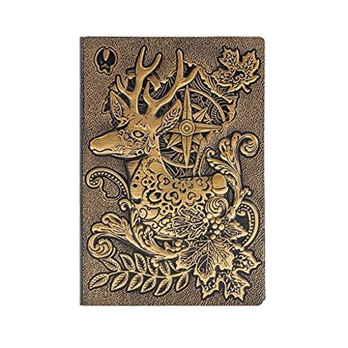 Cuaderno de diario de papel de calidad de tapa dura para regalos, cuaderno de trabajo de viajeros, cuaderno de 8.4 x 5.7 pulgadas (color dorado)