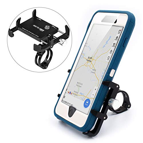 Thick Case Design Bike & Motorcycle Phone Mount Handlebar Holder For Any Cell Phones with Thick Phone Case Fit iPhone X XR Xs max 8 8s 7 PLUS Samsung Galaxy S10 S9 S8 Note 10 9 8 (Metal Black)