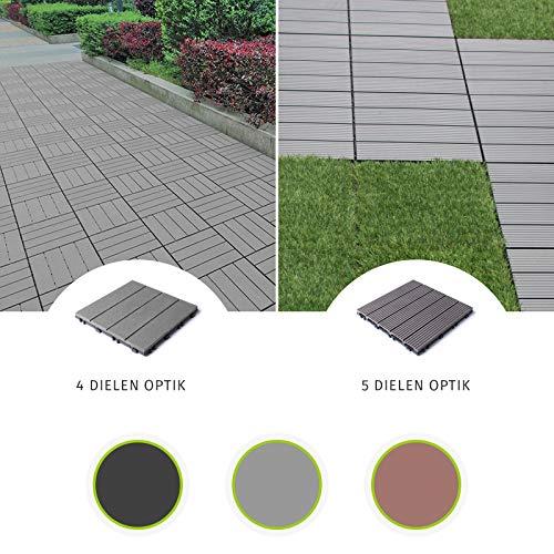 HORI® Terrassenfliesen WPC I Klick Boden-Fliesen aus Kunststoff in Holzfliesen Optik I Modell: WPC anthrazit 4er Holzoptik