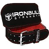Iron Bull Strength Ceinture de Levage Rembourrée - 6 po de Large en Cuir Daim - Support pour Le Dos Le Fitness, Musculation, Crossfit et Haltérophilie (Noir/Rouge, Grand)