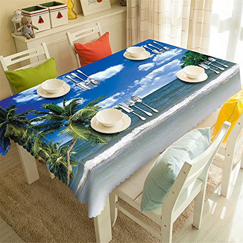 YGHBKL Blue sky, white clouds, sea, coconut tree, 3D tablecloth, rectangular polyester tablecloth, picnic towel, main decoration, 90 x 180 cm