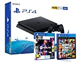 PS4 Slim 500Gb Negra Playstation 4 Consola + FIFA 21 + GTA V Grand Theft Auto 5
