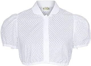 Wenger Austrian Style Damen Dirndl-Bluse mit Lochmuster und Kragen Weiss, weiß, 30