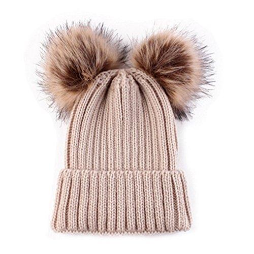 Hmilydyk Gebreide muts voor de winter met stijlvolle dubbele pompon pompon (oor) van nepbont, crochet ski-cap, voor meisjes en dames