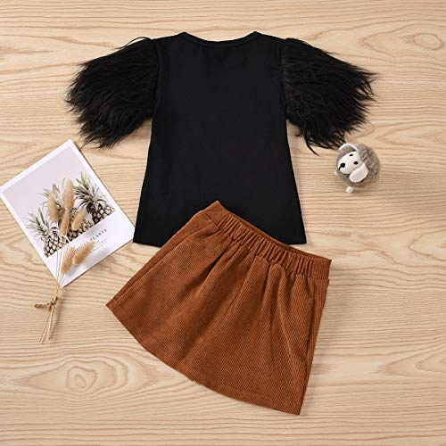 DuAnyozu Toddler Little Girl Skirt Outfits Feather Sleeve Tshirt Tops