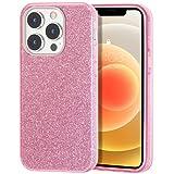 ZELAXY Funda Purpurina Compatible con iPhone 13 Pro (6.1) Brillante Ideal para Mujeres Carcasa Rígida Antideslizante 3 Capas Desmontables Ultra Fina de TPU y PC –Rosado