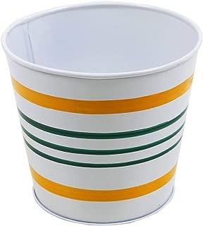 storeindya Metal Bucket Planter Galvanized Indoor Outdoor Flower Pot Container Garden Accessories (White-Yellow-Blue Striped)