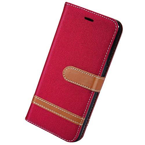 Herbests Kompatibel mit Huawei P20 Lite 2019 Handy Hülle Herren Männer Retro Vintage Leder Hülle Schutzhülle Flip Case Cover Brieftasche Wallet Tasche Kartenfach Standfunktion,Rot