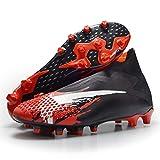 oneforus Calzado de Fútbol Antideslizante para Hombre, Calzado de Fútbol Profesional FG para Hombres y Jóvenes, Calzado Deportivo para Césped,Red-8.5