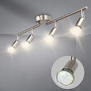 Depuley 4 Spots Plafond Pivotants & Orientables, 4 Ampoules LED 3W GU10, Barre Plafonnier LED Salon Salle à Manger Cuisine...