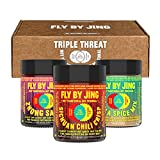 FLY BY JING Triple Threat Trio of Addictive Sichuan Sauces, Great Gift for Hot Sauce Fans, Set Includes: 100% All-Natural Sichuan Chili Crisp, Zhong Sauce, Mala Spice Mix