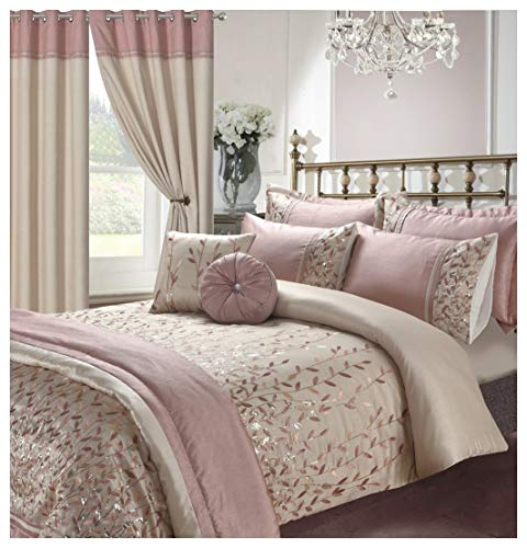 Hendem Marie Duvet Quilt Cover Embroidery Sequin Bedding Set Modern Bedroom Collection (Marie Pink, Double Duvet Cover)