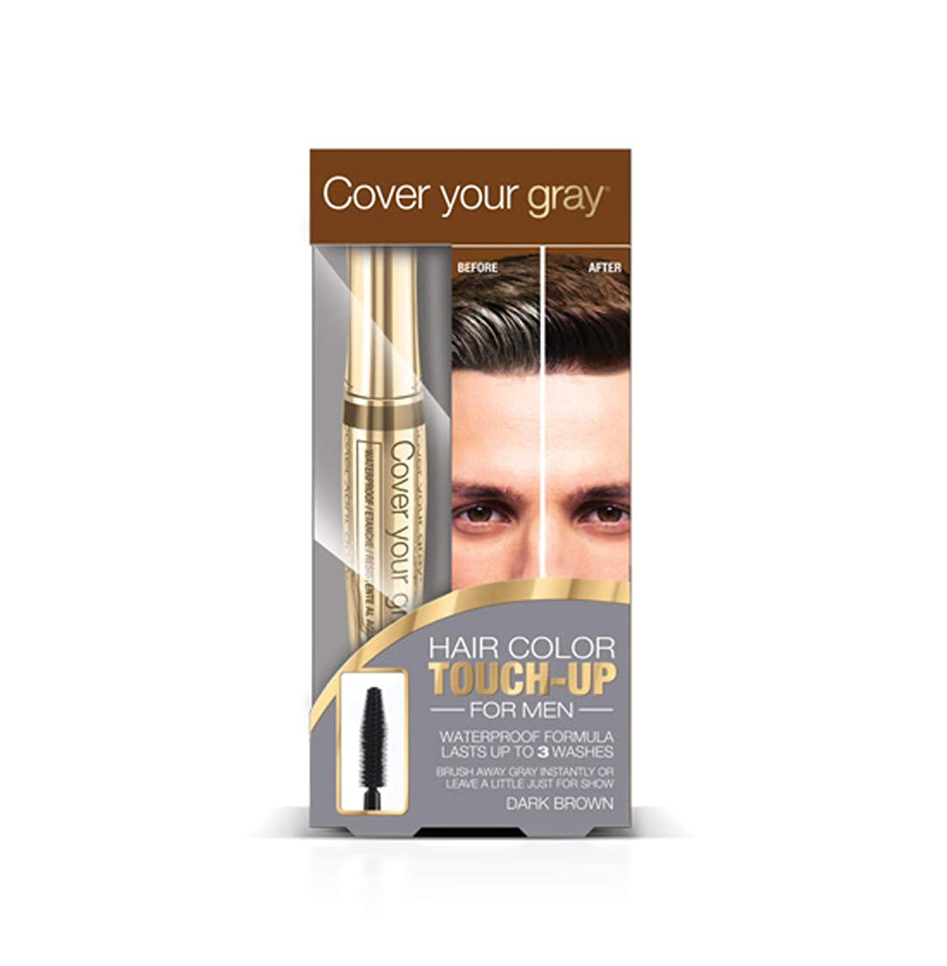 腫瘍樹皮専門化するCover Your Gray メンズ防水ブラシイン - ダークブラウン