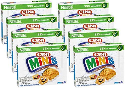 Nestlé CINI MINIS Riegel, Cerealien mit Zimt-Geschmack, knuspriger Snack mit Vollkorn-Weizen & Calcium, für Kinder, 8er Pack (8 x (4 x 25g))