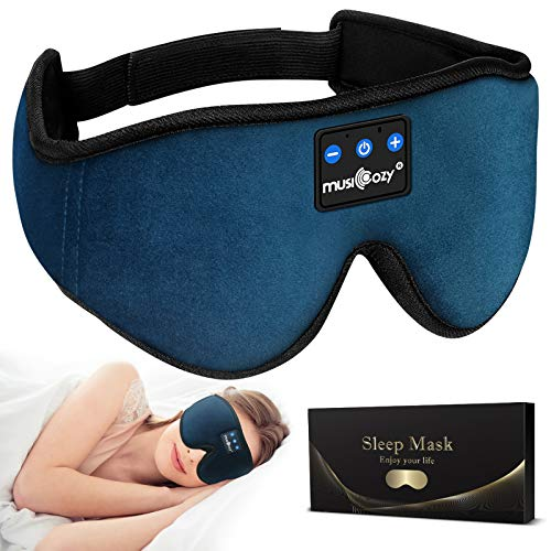 MUSICOZY Sleep Headphones Bluetooth 5.0 Headband Sleeping Headphones Sleep Mask, Wireless Music Eye Mask Sleep Earbuds for Side Sleeper Men Women Cool Tech Gadget Unique Gift Office Travel