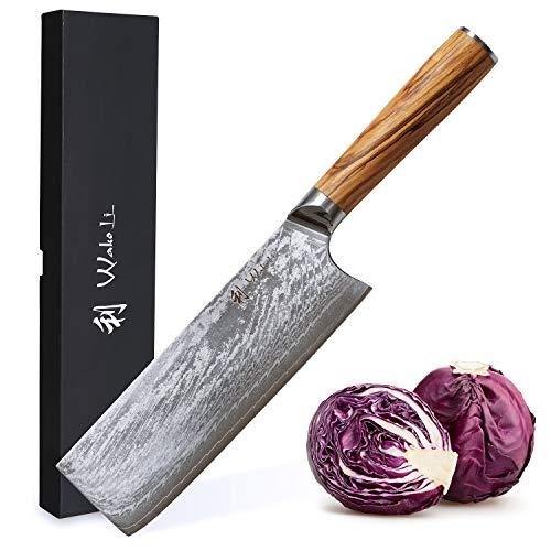 Wakoli Oribu Nakirimesser 18 cm extrem scharfe Klinge aus 67 Lagen I Damast Küchenmesser und Profi Kochmesser aus echtem japanischen Damaststahl mit Griff aus Olivenholz