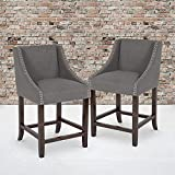 Flash Furniture Carmel Series 24' High Transitional Walnut Counter Height Stool with Nail Trim in Dark Gray Fabric, Set of 2