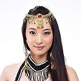 Big Red Crystal Rhinestone Head Chain Belly Dance Accessories Headpiece (Gold)