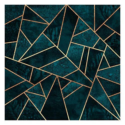 Bilderwelten Fototapete Motiv - Dunkles Türkis mit Gold - Vliestapete Quadrat 336 x 336cm