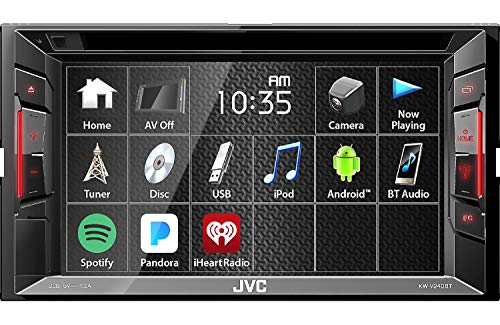 """JVC Multimedia Receiver w/WVGA Clear Resistive Touch Monitor, 6.2"""" (KW-V240BT)"""
