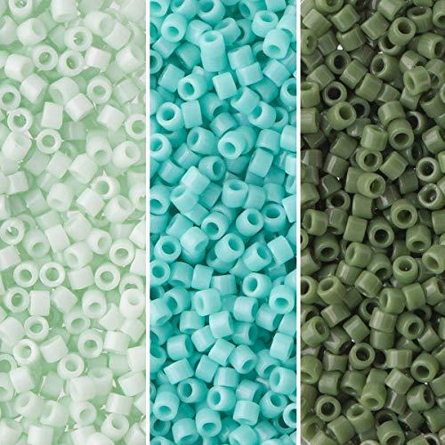 Miyuki Delica Seed Beads Bundle: Size 11/0, Palette Collection DB1135, DB1136, DB1496, 7.2 Grams, 3...