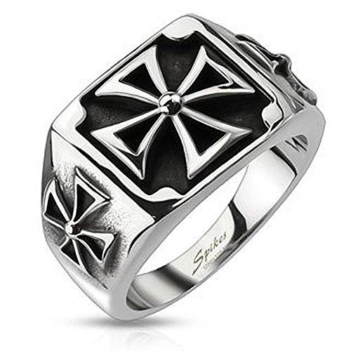 Autiga Ring Edelstahl Herren Massiv Biker Eisernes Kreuz Bandring Celtic Siegelring Silber-schwarz 70 - Ø 22,20 mm