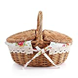Fdit cestino da picnic in vimini, contenitore con manici e antiscivolo Holiday camping uso...