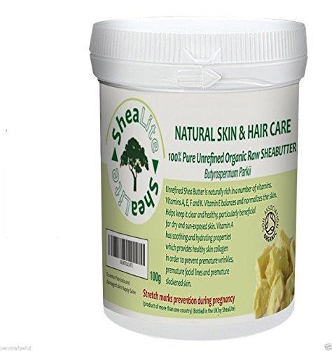 shealite non raffinato, Crudo, Naturale Avorio Burro di Karité - 100% puro- PERFETTAMENTE Best SALUTE benefici per tutti pelle e capelli Certificato Organico da Soil Association - 100g