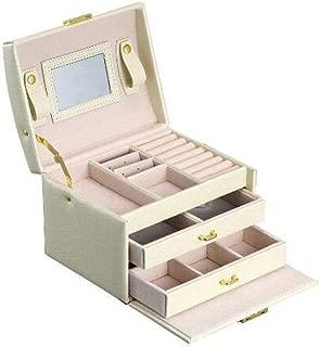Jewelry Box pu Leather Jewelry Box Three-Layer Double Drawer Jewelry Box Princess Jewelry Storage Box Finishing Storage Collection Display Decorative Box S10/19 (Color : Beige)