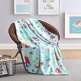 GoodGram Ultra Soft & Plush Fluffy Mermaid Princess & Sea Life Fleece Throw Blanket Cover - Throw Size