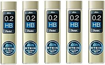 Pentel Ain Mechanical Pencil Leads 0.2mm HB, 5 Pack/total 100 Leads Value Set